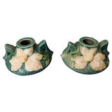 Roseville Pottery Ciel Blue Clematis Candlestick Holder Set