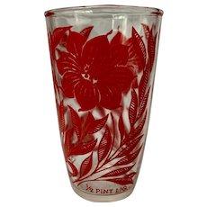 Hazel Atlas Red Dahlia aka Cosmos Flower 1/2 Pint Sour Cream Glass