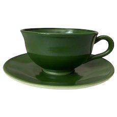Hazel Atlas Ovide Dark Green Cup & Saucer Set