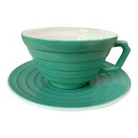 Hazel Atlas Moderntone Platonite Green Cup & Saucer Set