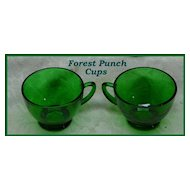 Anchor Hocking Forest Green Punch Cups ~ Set of 2