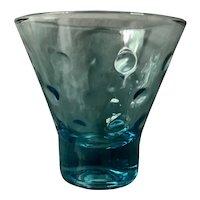 Hazel Atlas Capri Blue Dots Turquoise Whiskey Glass Set of Four