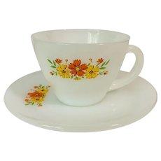 Anchor Hocking Floral Premium Orange Yellow Cup & Saucer