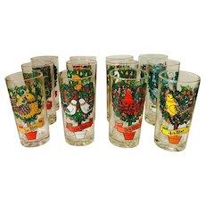Indiana Glass Tumbler Twelve 12 Days of Christmas Set