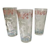 Hazel Atlas Glass Americana 16 Oz Tumblers ~ Set of Three