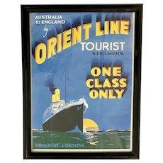 Orient Line Framed Oceanliner Cruise Ship Poster