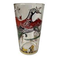 Hazel Atlas Glass Pheasants Flat Tumbler Set of Four
