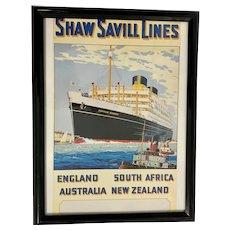 Shaw Savill Lines Framed Ship Poster
