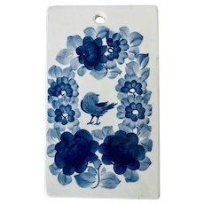 Fajans Floral Blue Bird Polish Majolica Pottery Plaque Trivet Cheese Board Wall Hanging