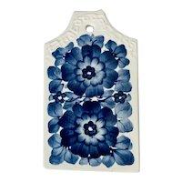 Fajans Blue Floral Polish Majolica Pottery Trivet Cheese Board Wall Hanging