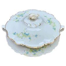 Homer Laughlin Blue Floral Round Covered Vegetable Casserole Hudson Shape #1404