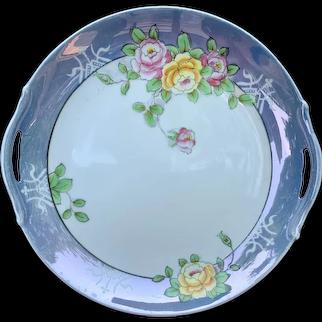 Early Noritake Purple Lusterware Multicolored Rose Pattern Double Handled Plate