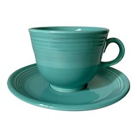 Homer Laughlin Fiesta Ware Turquoise Cup & Saucer