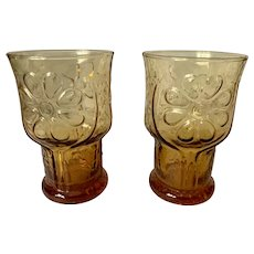 Libbey Country Garden Amber Juice Glasses
