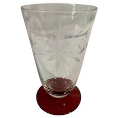 Vintage Ruby & Clear Star Etched Cocktail Glass