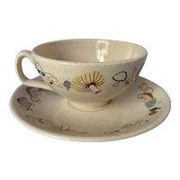 Franciscan Woodlore Colorful Mushrooms Cup& Saucer Set