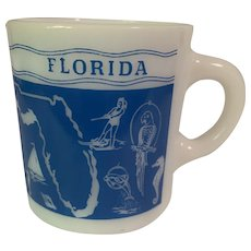 Vintage Florida the Sunshine State Milk Glass Mug