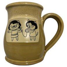 Deneen Pottery Girls Knitting Mug