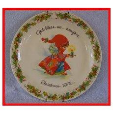 Gigi Christmas God Bless Us 1972 Commemorative Plate