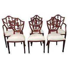 Set 6 Mahogany Maitland Smith Hepplewhite Style Shield Back Dining Room Chairs 4031-184