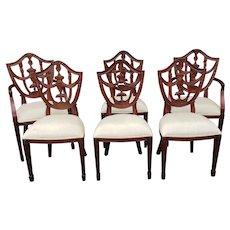 Set 6 Mahogany Maitland Smith Hepplewhite Style Shield Back Dining Room Chairs 4031-184