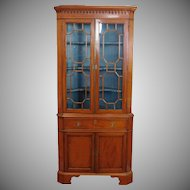 Antique English Late Georgian Period Inlaid Satinwood Corner Cabinet Cupboard c1820