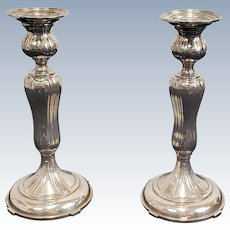 Pair Weighted Sterling Silver Black Starr & Frost Candlesticks #3584 c1940s