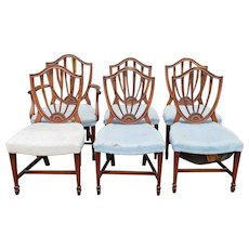 Set 6 Mahogany 1940s Sheraton Shield Back Dining Room Chairs ~ AS IS ~ CLEARANCE ~