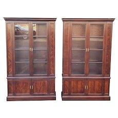 Pair Hekman Furniture Mahogany Glass Door Bookcase Display Curio Cabinets #9514 4806