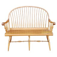 S. Bent Bros Oak Country Style Hoop Back Spindle Entrance Way Bench