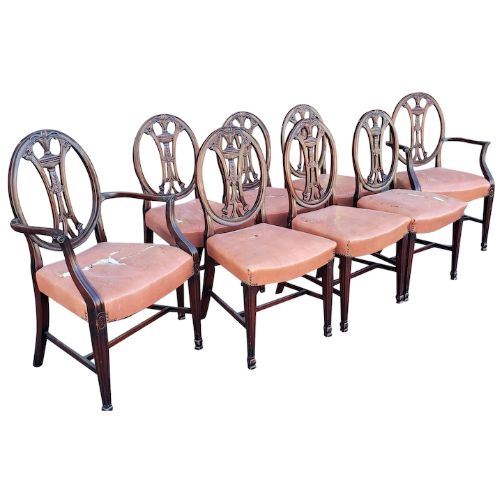 Set 8 Antique George III Style Mahogany Dining Room Chairs c1900