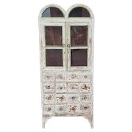 Imported Distressed Painted Primitive Multi Drawer Display China Cabinet Cupboard c1990s