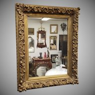 Antique 19th Century Victorian Gesso Gold Leaf Hanging Wall Mirror 26 X 33