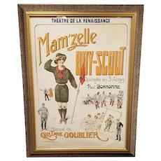 Signed Original H. Gray Framed Mam'Zelle Boy-Scout Opera Poster 1915 Theatre De La Renaissance