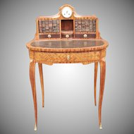 Antique 19th Century French Satinwood Parquetry Bonheur Du Jour Ladies Writing Desk w/ Clock c1880