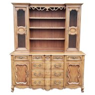 1960s John Widdicomb Fruitwood French Country Provincial 2 Part China Cabinet Cupboard