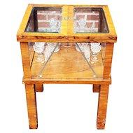 Antique 1920s Biedermeier Style Mechanical Tantalus Lift Top Cellarette Table w/ Crystal Service