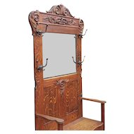 Large Antique Victorian Carved Oak Hallway Stand Bench w/ Mirror c1890