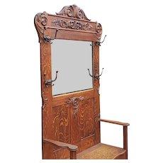 Large Antique Victorian Carved Oak Hallway Stand Bench w/ Mirror c1890