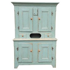 Antique 19th Century Country Distressed Painted Quality Primitive Kitchen Dining Cupboard Cabinet