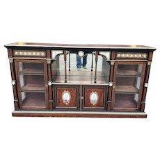 Antique French Victorian Napoleon III Ebonized & Amboyna Credenza Cabinet w/ Sevres Plaques c1860