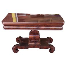 Antique American Empire Period Flame Mahogany Flip Top Console Dining Room Center Table c1860