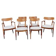 Set 6 Vintage Mid Century Kipp Stewart & Stuart MacDougall For Drexel Declaration Collection Dining Room Chairs