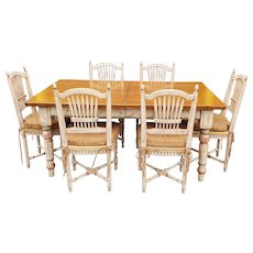 Country Painted Style Tavern Table with 6 Wheat Back Chairs & 1 leaf ~ 1990s