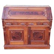 Antique 19th Century Burl Walnut & Inlaid  Victorian Slant Top Secretary Desk c1880.