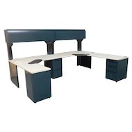 "Large Malachite Green & Sand laminate Knoll Morrison Commercial Multi Station Office Desk System 120"" X 90"" 1994"