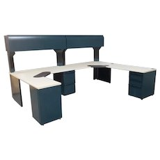"Large Malachite Green & Sand laminate Knoll Morrison Commercial Multi Station Office Desk System 120"" X 90"" 1994"