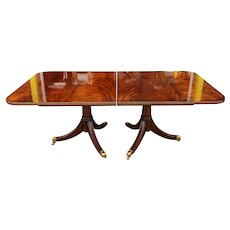 Maitland Smith Flame Mahogany Regency Style Dining Room Table w/ 2 leaves #8100-35