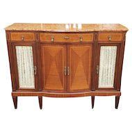Antique Walnut Rouge Marble Top French Dining Room Credenza Cabinet c1910-1920