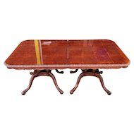 1990s Mahogany Double Pedestal Roped Edge Chippendale Dining Room table w/ 2 Leaves